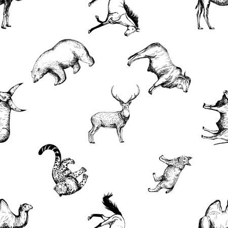 Seamless pattern of hand drawn sketch style animals isolated on white background. Illustration