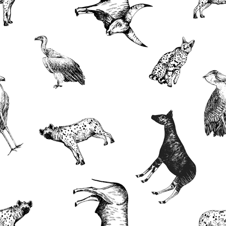 Seamless pattern of hand drawn sketch style African animals isolated on white background. Illustration