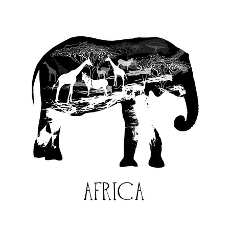 Hand drawn sketch style abstract African animals. Vector illustration isolated on white background. Ilustração