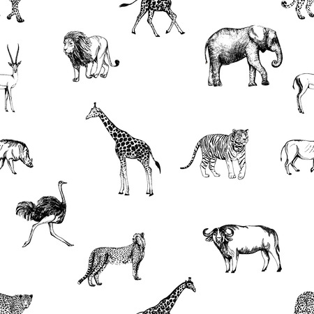 Seamless pattern of hand drawn sketch style animals isolated on white background. Stock Vector - 92512911