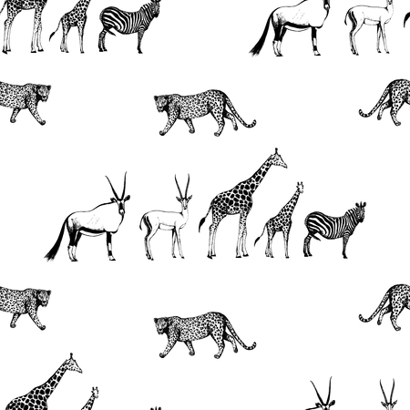 Seamless pattern of hand drawn sketch style oryx, gazelle, giraffe, zebra and leopard isolated on white background.