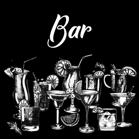 Set of hand drawn sketch style alcoholic drinks isolated on black background.