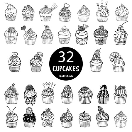 Hand drawn sketch set of cupcakes isolated on white background.