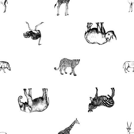 Seamless pattern of hand drawn sketch style African animals. Vector illustration isolated on white background. Imagens - 93022976