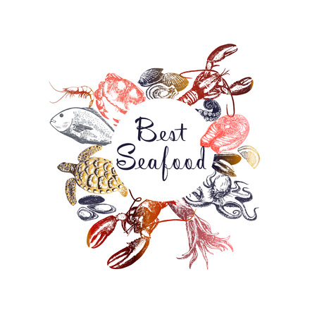 Set of hand drawn sketch style seafood. Vector illustration isolated on white background.