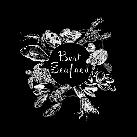 Set of hand drawn sketch style seafood. Vector illustration isolated on black background. Vectores
