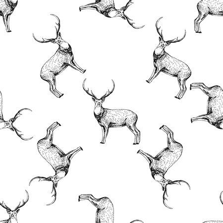 Seamless pattern of hand drawn sketch style deer. Vector illustration isolated on white background. Ilustração
