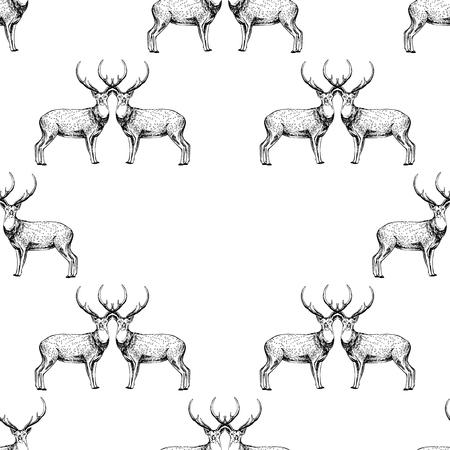 Naadloze patroon van hand getrokken schets stijl herten. Vector illustratie geïsoleerd op een witte achtergrond. Stock Illustratie