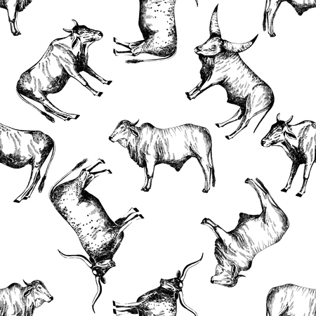 Seamless pattern of hand drawn sketch style cattle. Vector illustration isolated on white background.
