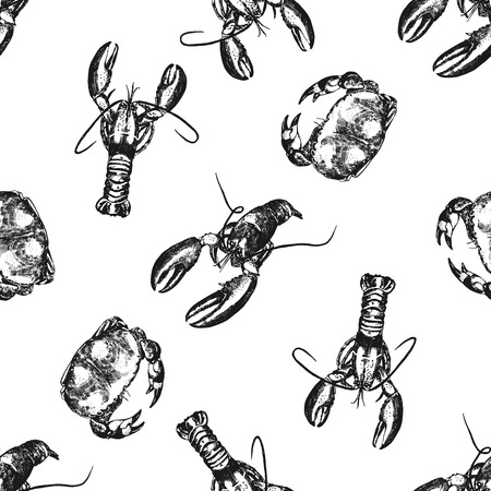 Seamless pattern of hand drawn sketch style lobsters and crabs. Vector illustration isolated on white background. Illustration