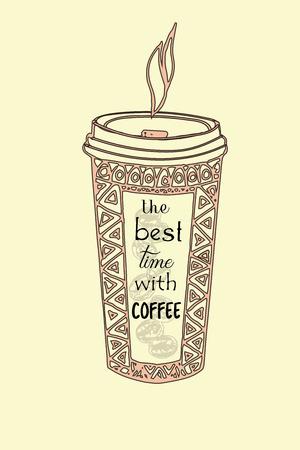Esboço desenhado de mão da xícara de café. Ilustração vetorial isolado.