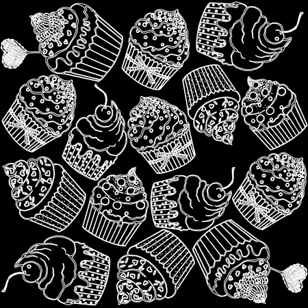 Pattern of hand drawn sketch style cupcakes. Vector illustration on black background. Vectores