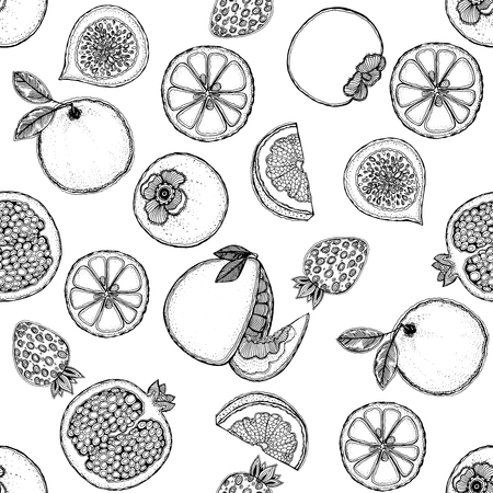 Seamless vector pattern of hand drawn sketch style fruits.