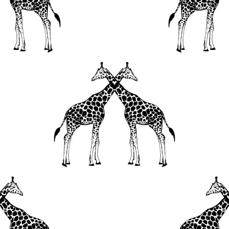 Seamless pattern of hand drawn sketch style giraffe. Vector illustration. Imagens - 93788881