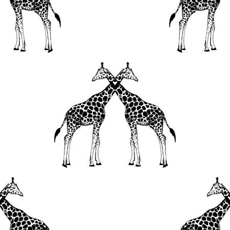 Seamless pattern of hand drawn sketch style giraffe. Vector illustration. Ilustração