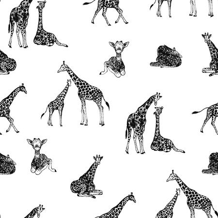Seamless pattern of hand drawn sketch style giraffes. Vector illustration. Vetores