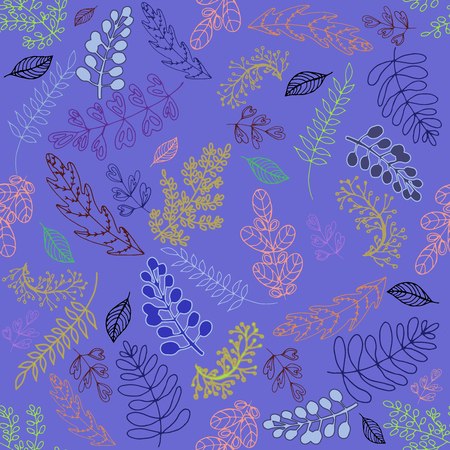Seamless pattern of hand drawn sketch style colorful abstract plants. Vector illustration. Ilustrace