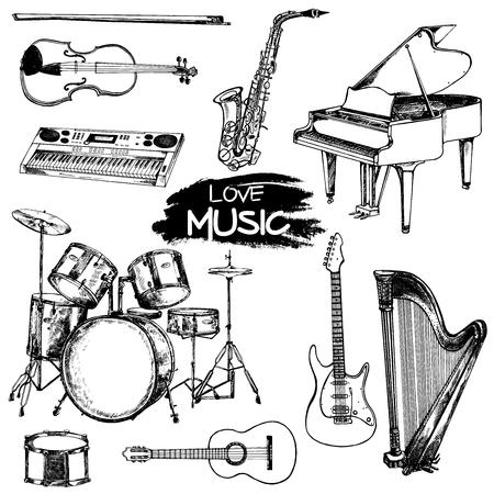 Strumenti musicali stile schizzo disegnato a mano. Illustrazione vettoriale isolato su sfondo bianco