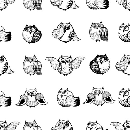 Seamless vector pattern of hand drawn sketch style owls.
