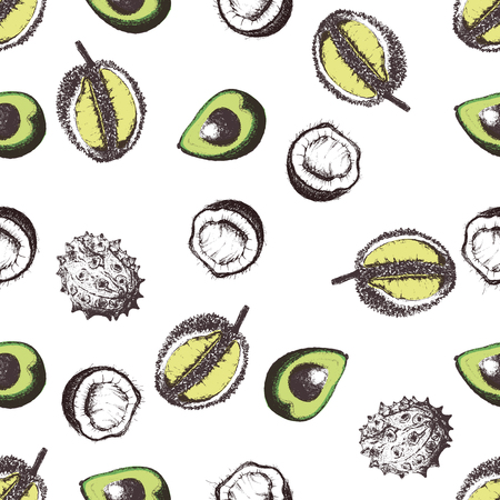 Hand drawn sketch style seamless vector pattern of tropical fruits.