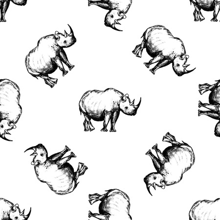 Seamless pattern of hand drawn sketch style rhinosaurus. Vector illustration isolated on white background. Imagens - 93786898