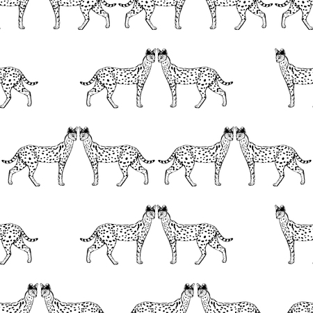 Seamless pattern of hand drawn sketch style serval. Vector illustration isolated on white background. Illustration