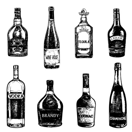 Set of hand drawn sketch style bottles of alcohol. Vector illustration isolated on white background.