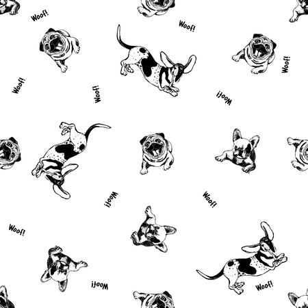 Seamless pattern of hand drawn sketch style dogs. Vector illustration isolated on white background.