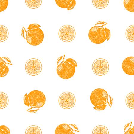 Seamless pattern of hand drawn sketch style mandarin oranges. Vector illustration.