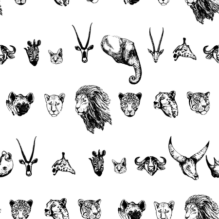 Seamless pattern of hand drawn sketch style African and Asian animals. Vector illustration isolated on white background. Stock Vector - 93788952