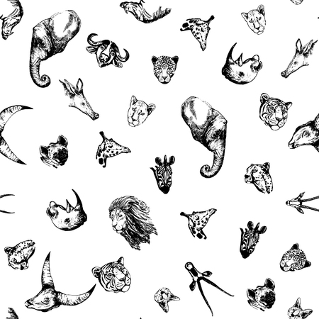 Seamless pattern of hand drawn sketch style African and Asian animals. Vector illustration isolated on white background.