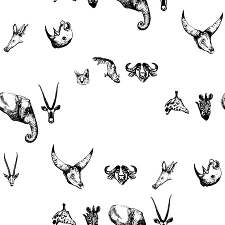 Seamless pattern of hand drawn sketch style African animals. Vector illustration isolated on white background. Stock Vector - 93788950