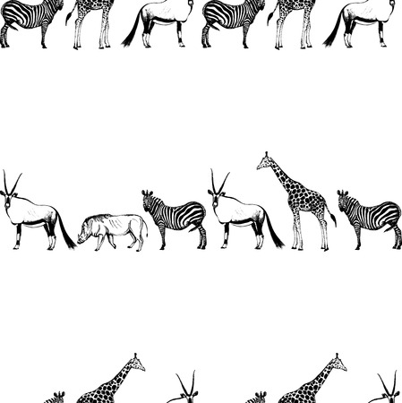 Seamless vector pattern of hand drawn sketch style African animals. Imagens - 93787424