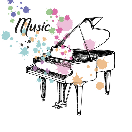 Hand drawn sketch style piano. Vector illustration isolated on white background.
