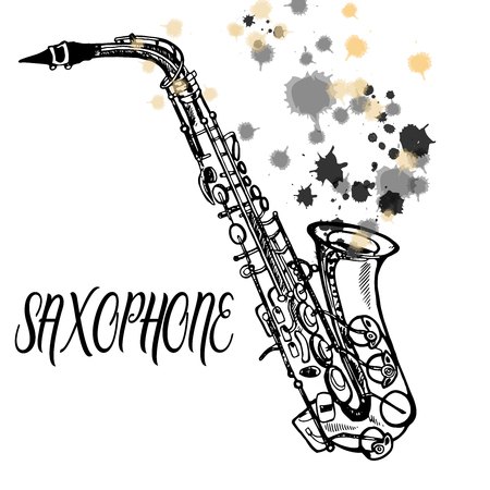 Hand drawn sketch style saxophone. Vector illustration isolated on white background. Vectores