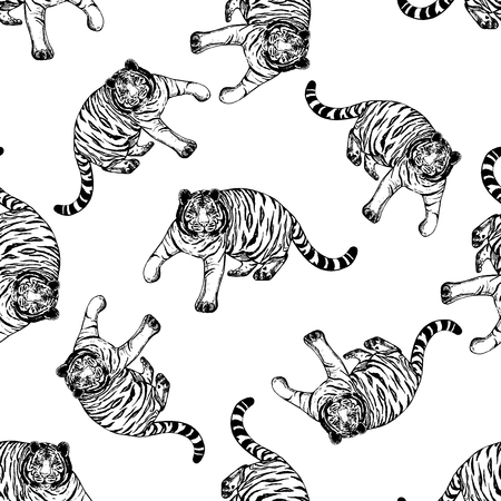 Seamless pattern of hand drawn sketch style tigers. Vector illustration isolated on white background.