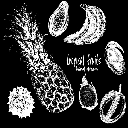 Hand drawn sketch set of tropical fruits. Vector illustration isolated on black background.