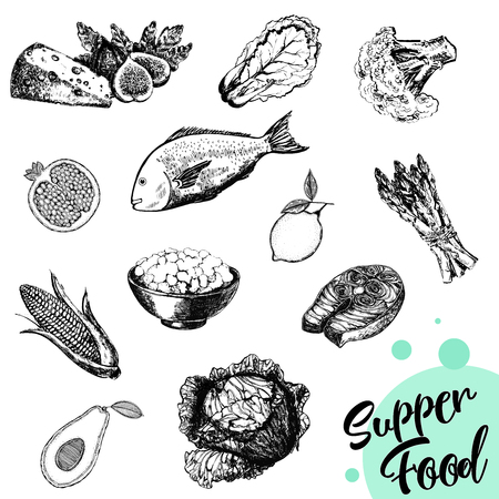 Set of hand drawn sketch style isolated food. Vector illustration.