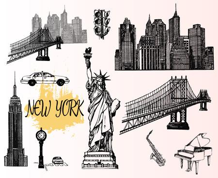 手描きのスケッチスタイルニューヨークをテーマにした孤立したオブジェクトのセット。ベクトルイラスト。  イラスト・ベクター素材