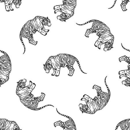 손으로 그린 스케치 스타일 호랑이의 원활한 패턴입니다. 벡터 일러스트 레이 션 흰색 배경에 고립. 일러스트