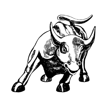 Hand drawn sketch style bull statue. Vector illustration isolated on white background. Çizim
