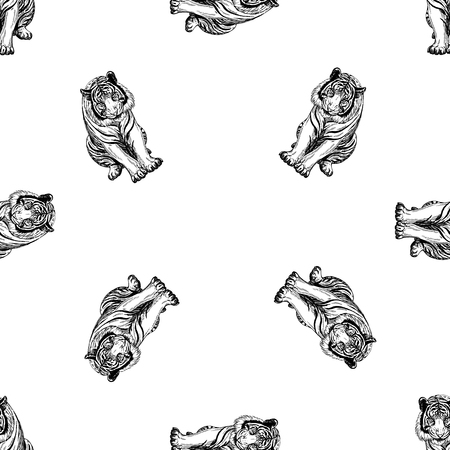 Seamless pattern of hand drawn sketch style tiger. Vector illustration isolated on white background. Vectores
