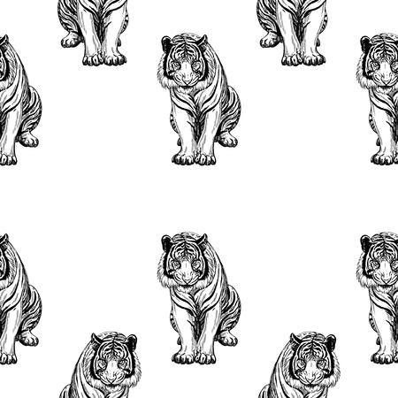 Seamless pattern of hand drawn sketch style tiger. Çizim