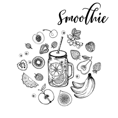 Set of hand drawn sketch style smoothie with fruits. Isolated vector illustration.