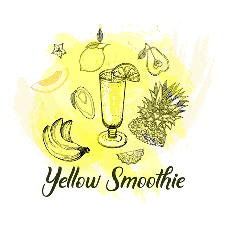 Set of hand drawn sketch style yellow smoothie with fruits. Isolated vector illustration.