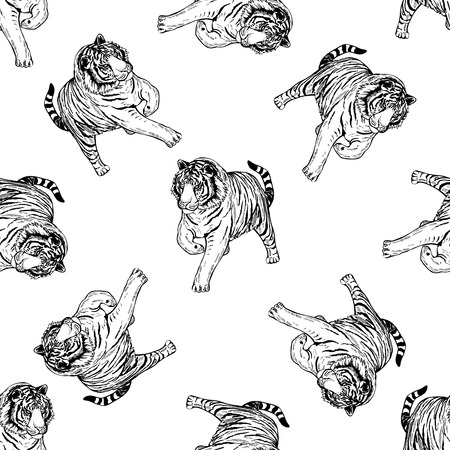 Seamless pattern of hand drawn tiger. Vectores