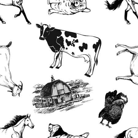 Seamless pattern of hand drawn sketch style farm building and animals. Vector illustration isolated on white background.