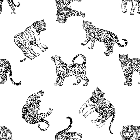 Seamless pattern of hand drawn sketch style leopards and tigers isolated on white background. Vector illustration. Vectores