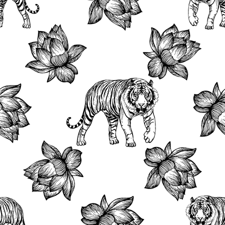 Seamless pattern of hand drawn sketch style lotus flowers and tigers isolated on white background. Vector illustration.