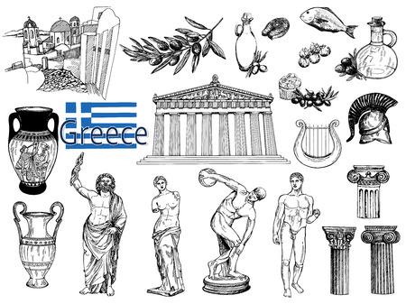 Insieme di oggetti a tema greco stile schizzo disegnato a mano isolato su priorità bassa bianca. Illustrazione vettoriale Vettoriali
